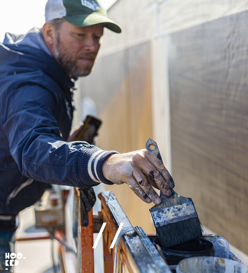 Leon Keer at work painting his 3d mural fragile in ostend
