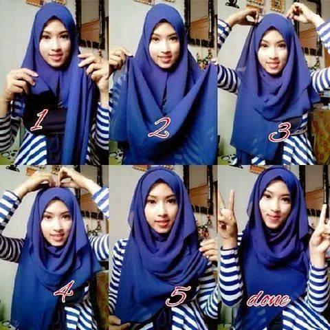 Cara memakai jilbab pashmina syar'i