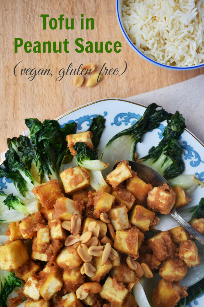 Tofu in Peanut Sauce - All natural homemade peanut sauce on crispy extra-firm #tofu cubes. A delicious, healthy meal on the table in under 30 minutes! #vegan #glutenfree #healthy #recipes #vegetarian