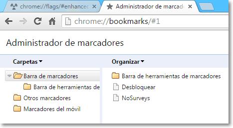 Anterior Administrador de marcadores Chrome