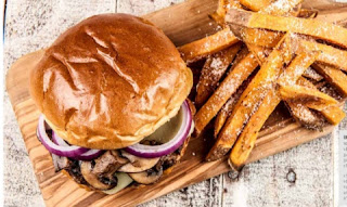 home chef Unami Burger with Miso-Marinated Beef-