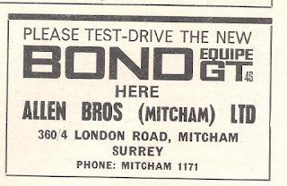 Allen Bros (Mitcham) Ltd, Bond advert from Motor 14-11-1964