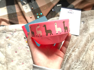 pink plastic bowl with llamas on