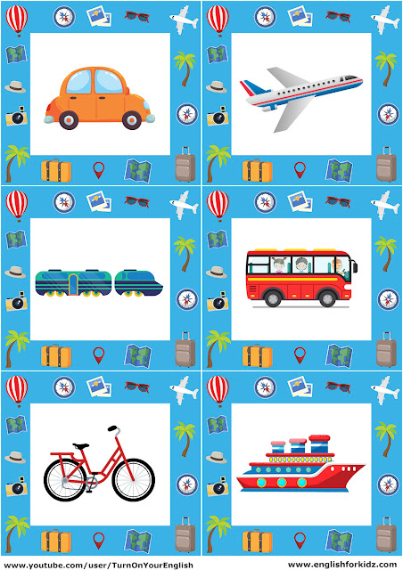 ESL transport flashcards for kids