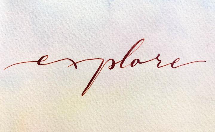 Explore, modern calligraphy