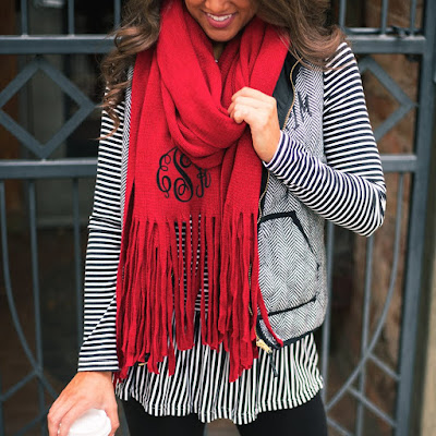 red long soft fringe scarf