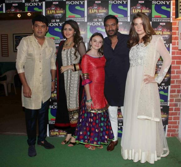 Ajay Devgan, Sayesha, Erika, Abigail Promote Shivaay on the sets of The Kapil Sharma Show