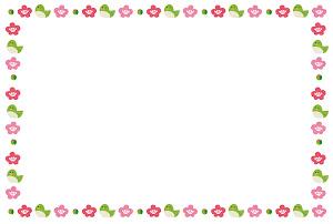 春のフレーム「梅とウグイス」横