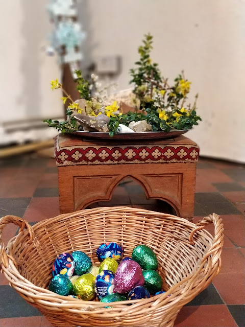 Easter garden and eggs in Anglican church