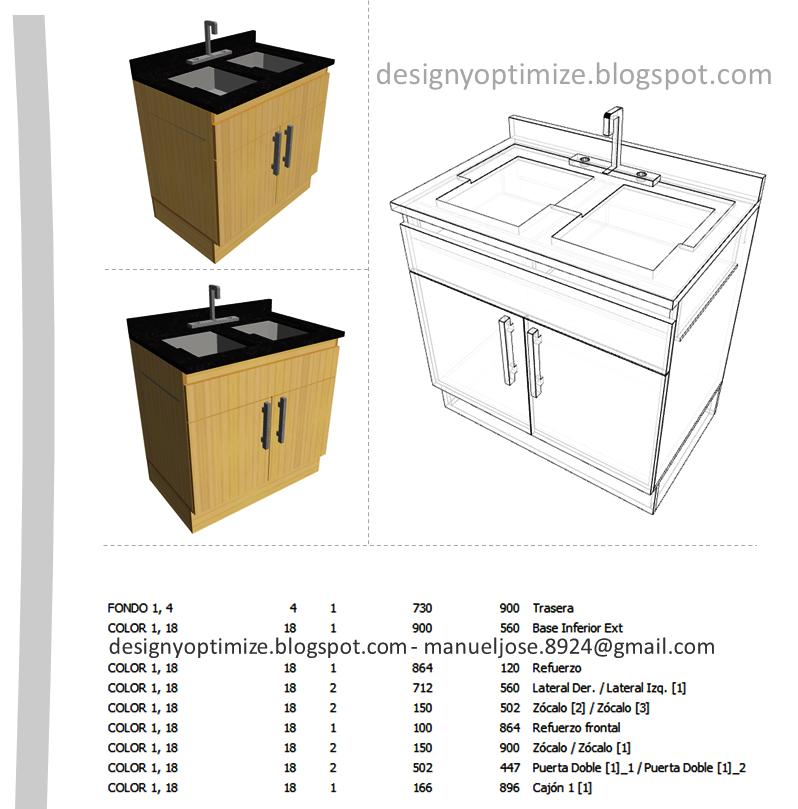 Dise o de muebles madera mueble para fregadero - Como hacer cocinita de madera ...