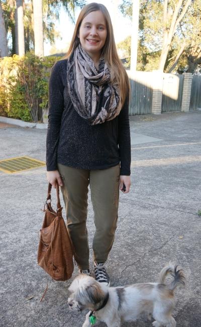 black printed long sleeve tee olive skinny cargo pants paisley print infinity scarf | awayfromblue
