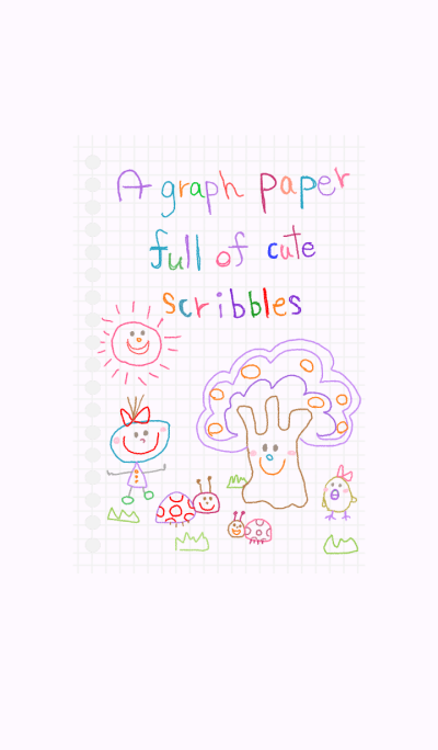 A graph paper full of cute scribbles 3