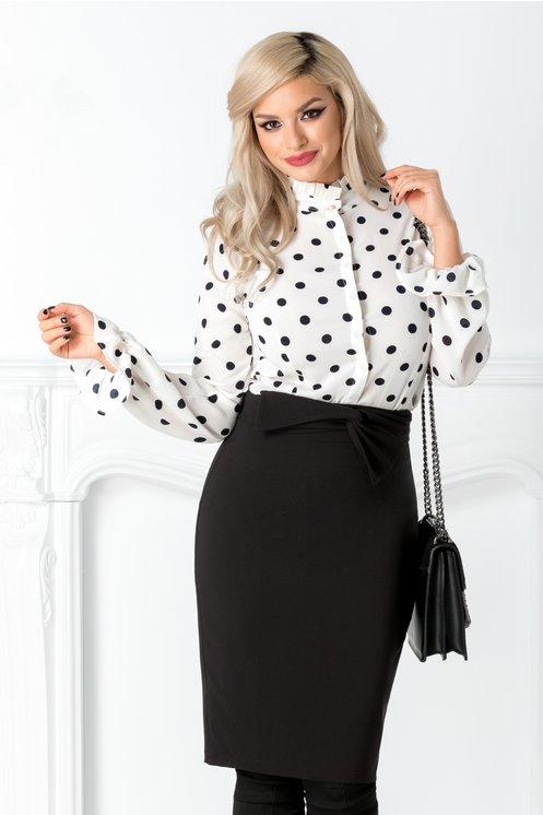 Camasa office eleganta alba cu buline negre ieftina moderna