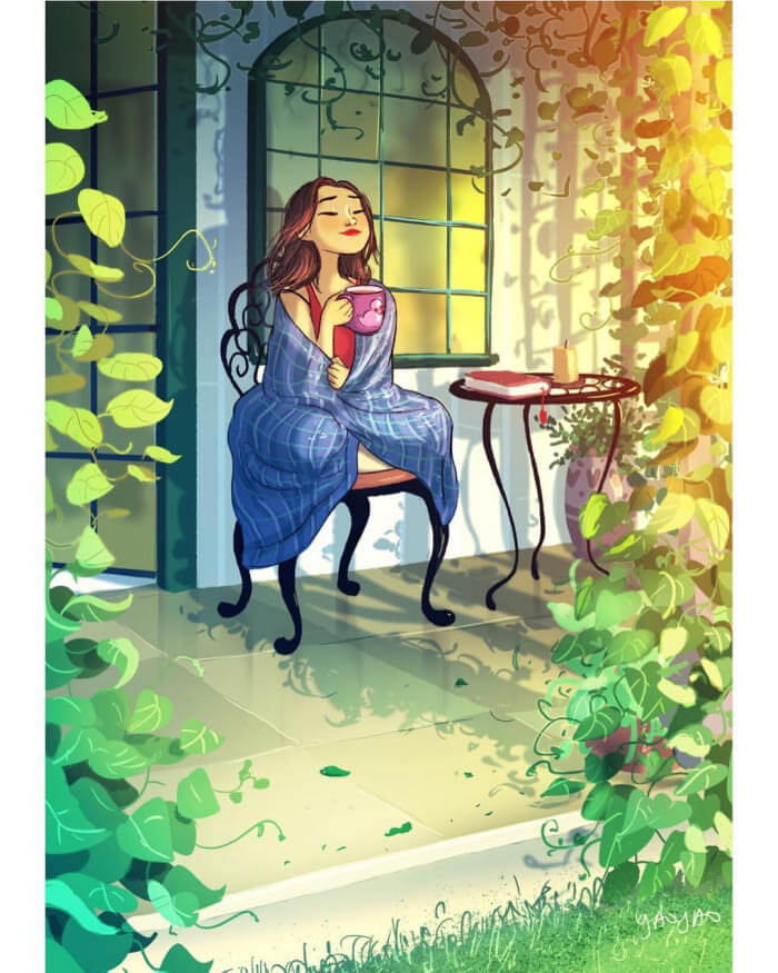 The Freedom of Living Alone in 16 Fascinating Drawings - Enjoy the morning sun with a cup of strong tea.