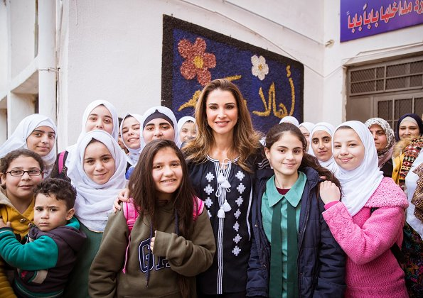 Queen Rania of Jordan visited Al Ashrafieh Secondary School for Girls in Amman