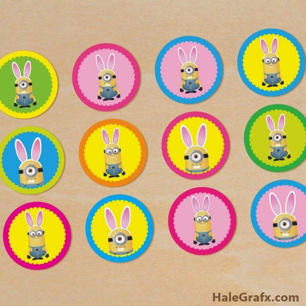 graphic relating to Minion Logo Printable called Minions Easter Cost-free Printable Toppers, Labels or Stickers