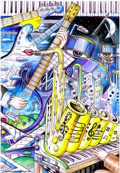 Original surrealistic, visionary, musical instruments in a Jazz art illustration.