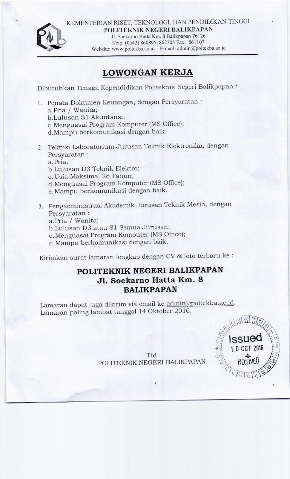 Lowongan Politeknik Negeri Balikpapan