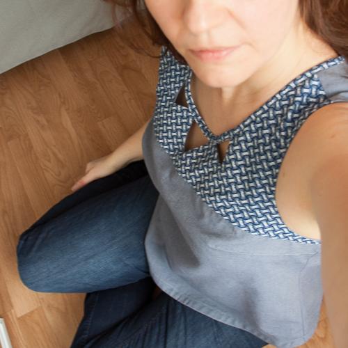 selfie Datura shweshwe indigo maillage