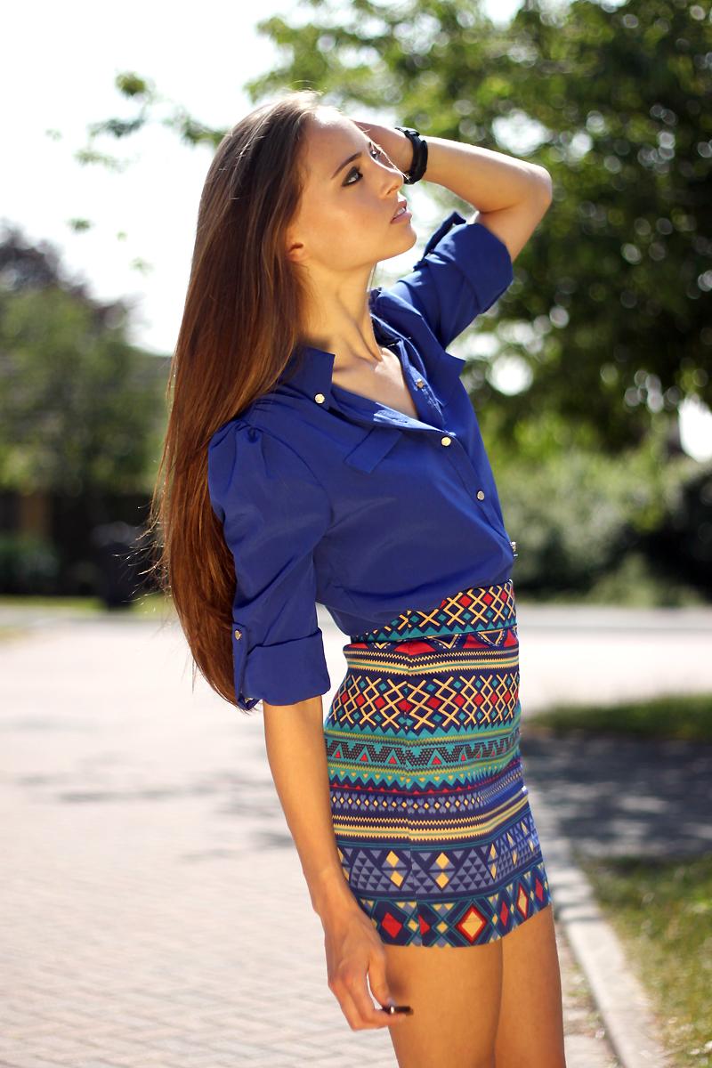 330c639b4233 Cobalt blue chiffon shirt  15th Lane    Skirt  Forever 21    Shoes   Sammydress    Watch  Daniel Wellington