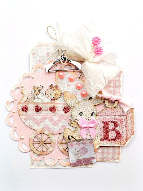 Mixed Media Baby Girl Tag by Dana Tatar for FabScraps