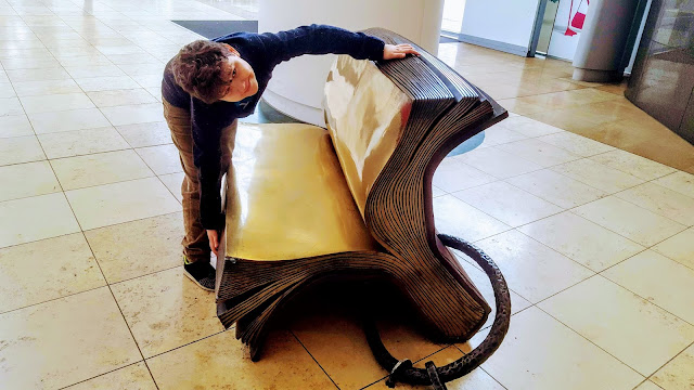 Dan Jon with a giant reading book