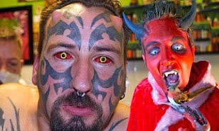 MAN SPENDS MUCH MONEY TO LOOK LIKE LUCIFER. SEE HOW HE LOOKS NOW.