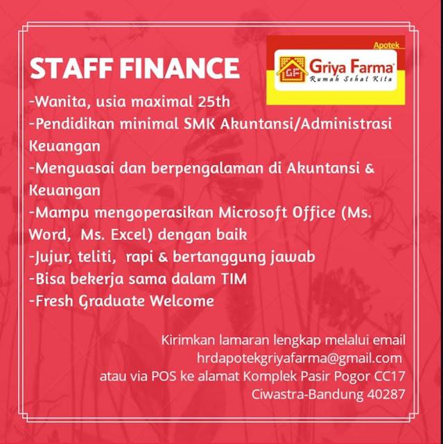 Lowongan Staff Finance Griya Farma Bandung