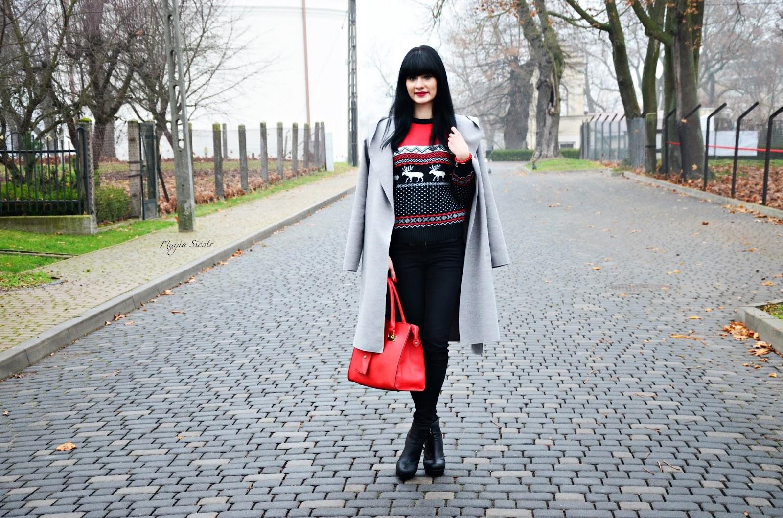 basic, płaszcz na jesień, jesienny płaszcz, szary płaszcz, czerwona torebka