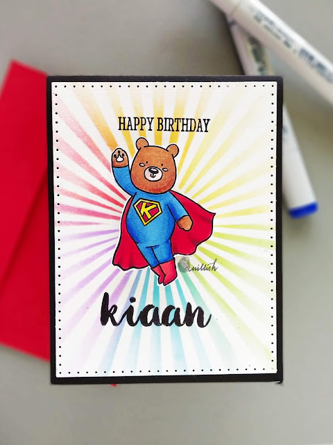 Studio Katia Kobi the super bear, super hero card, cards by ishani, Copic markers, stencil card, stenciling, masculine birthday card, Birthday card, Card for him, Card for BFF, Quillish