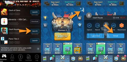Mengaktifkan semua fitur mod xmodgames untuk clash royale