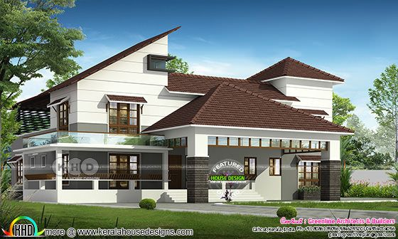 Slanting roof 4 bedroom home plan