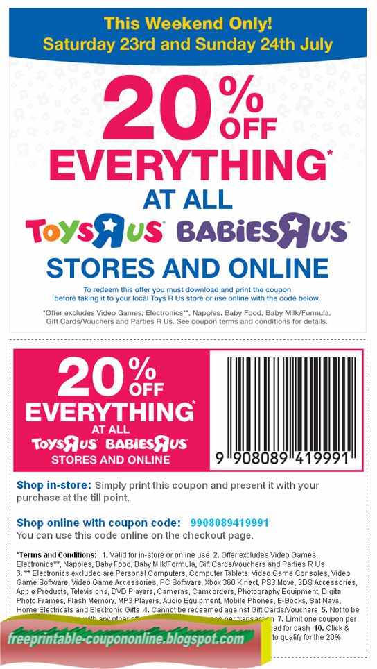 graphic regarding Toy R Us Coupon Printable known as Printable Discount coupons 2019: Infants R Us Coupon codes
