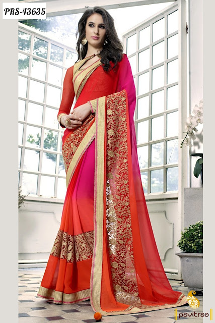 Karva Chauth special red net party wear saree online shopping at pavitraa.in