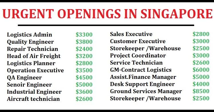 Urgent Singapore Job Vacancies Dubai Job Walkins