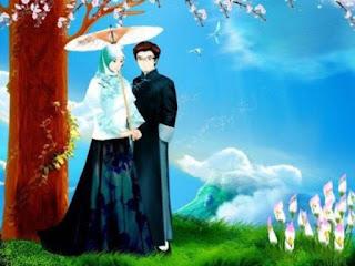kartun islami sepasang suami istri