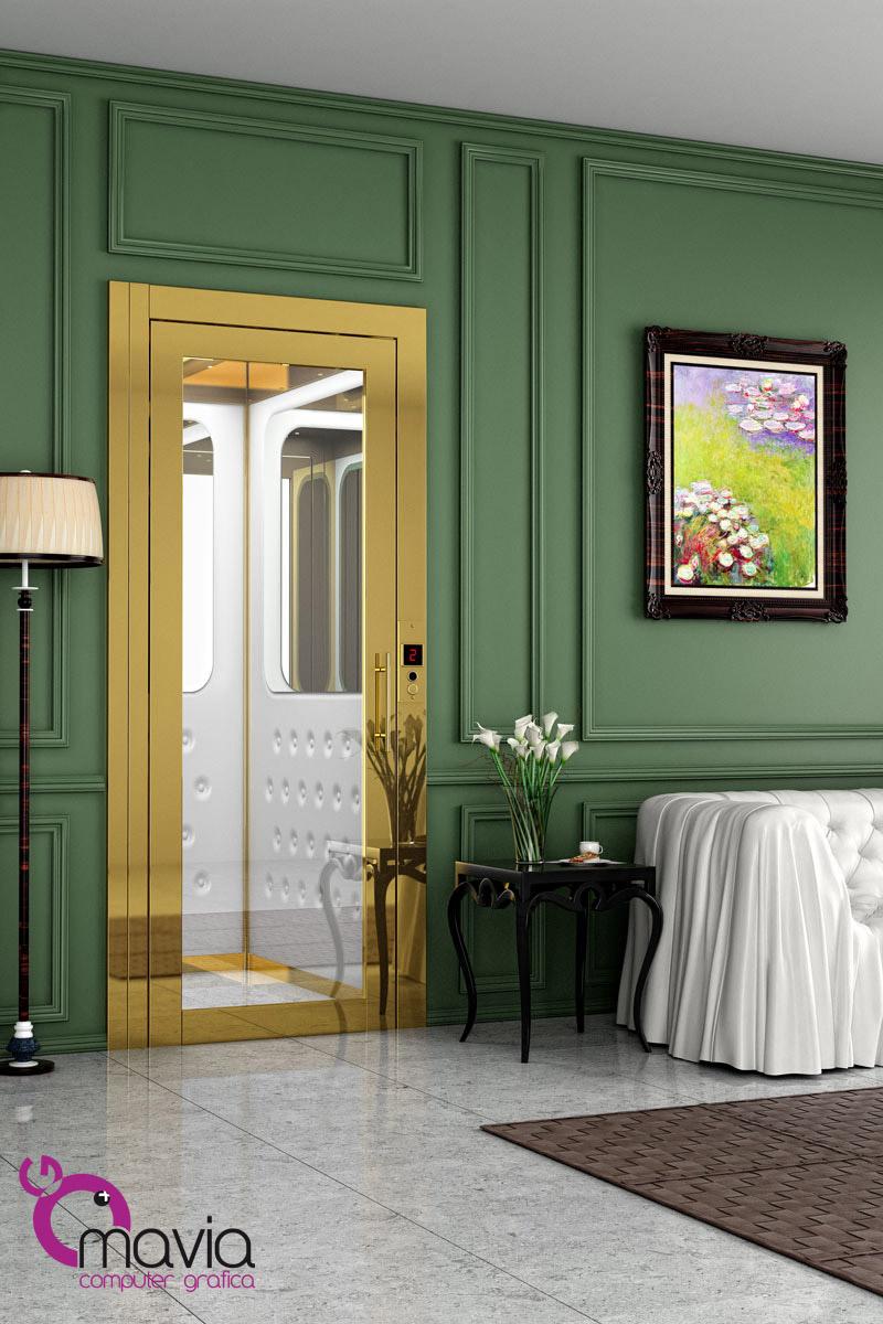Arredamento di interni Rendering 3D ascensore interni