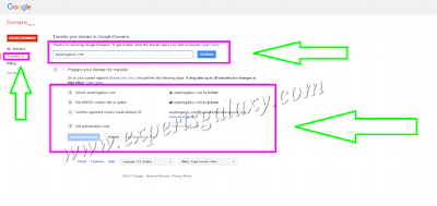 Transfer Domain Google Registrar