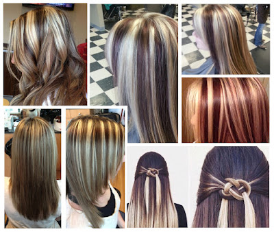 Black Auburn And Blonde Chunky Highlights