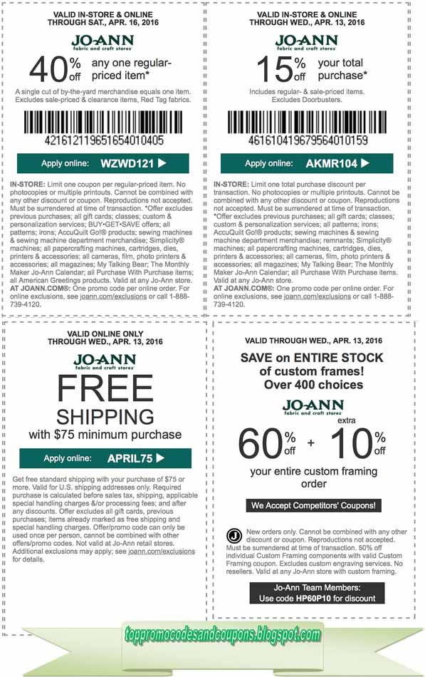 Free Promo Codes and Coupons 2018: Joann Coupons