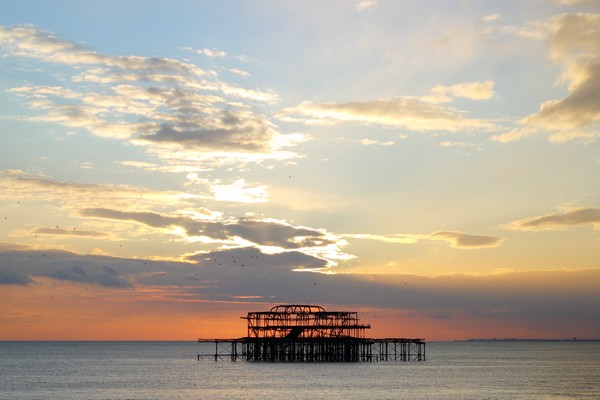 brighton seafront front mer sunset west pier coucher soleil