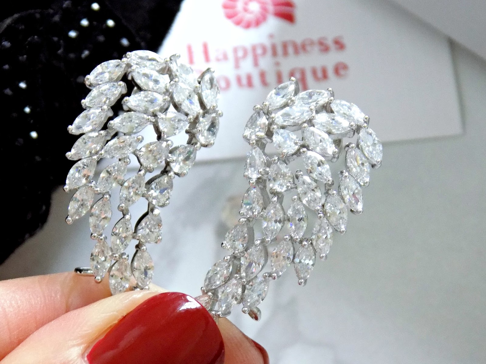 Happiness Boutique Angelic Feather Crystal Ear Crawlers