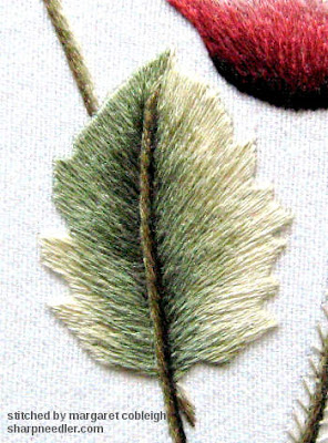 Green needlepainted leaf with split stitched vein