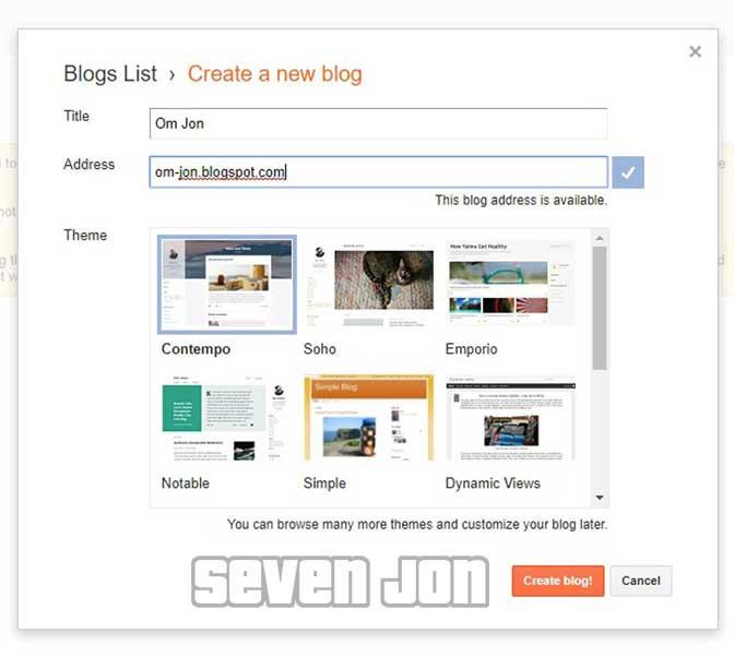 Form Pembuatan Blog