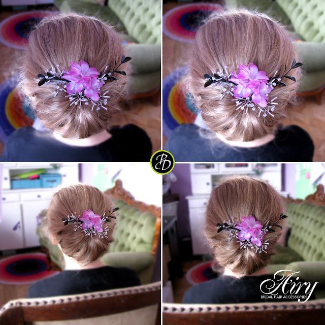 Różowy stroik ślubny do włosów.