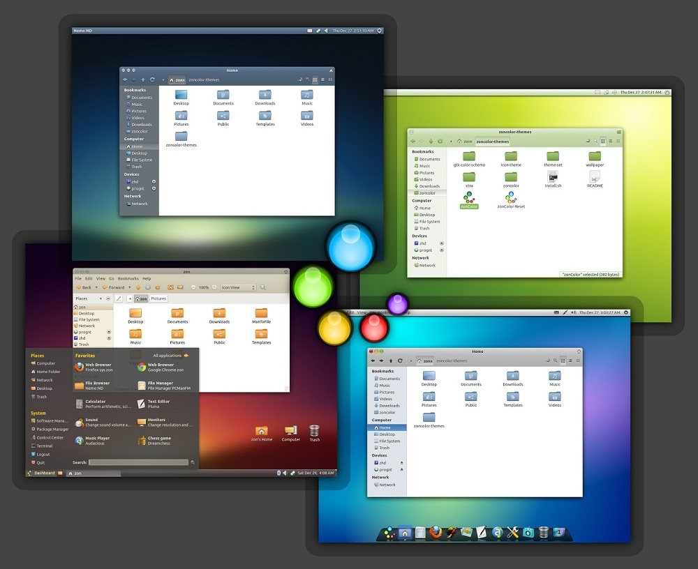 jfn linux project: zonColor themes and icons package for Ubuntu
