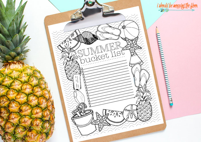 Coloring Summer Bucket List