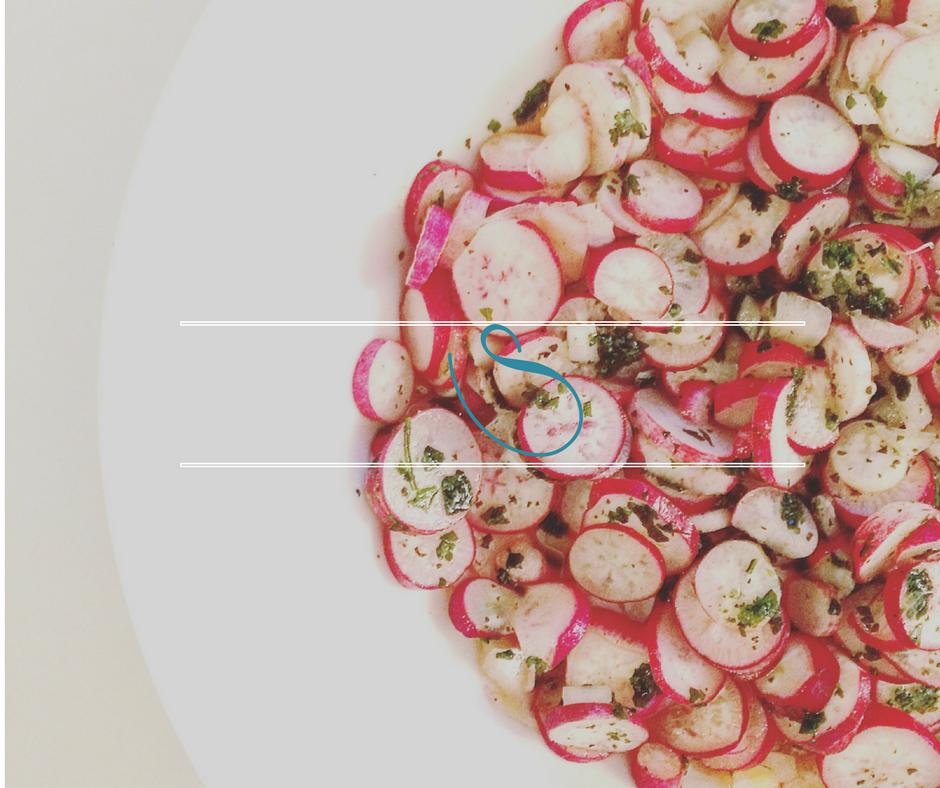 #Tunisian radish and fresh cilantro salad   Salade Tunisienne de radis et coriandre fraîche   Slatet Fjil