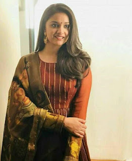 Keerthy Suresh in Maroon Color Dress with Cute and Lovely Smile