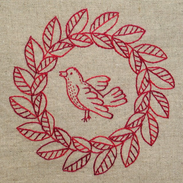 Quilt Inspiration: Free pattern day ! Redwork embroidery